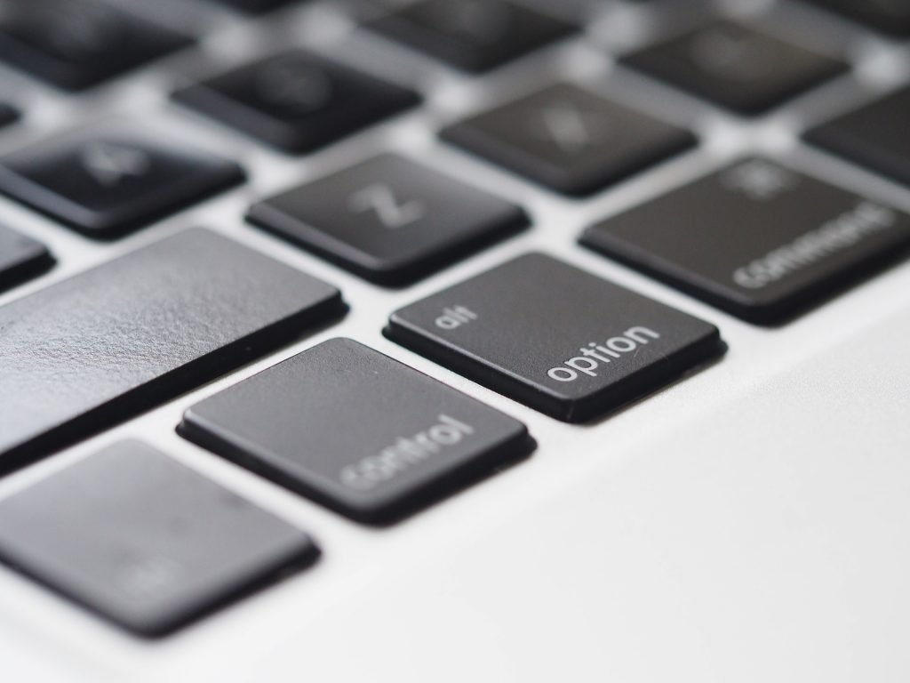 Closeup view of lower-left corner of Mac keyboard