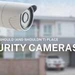 A security camera placed in front of a residential home