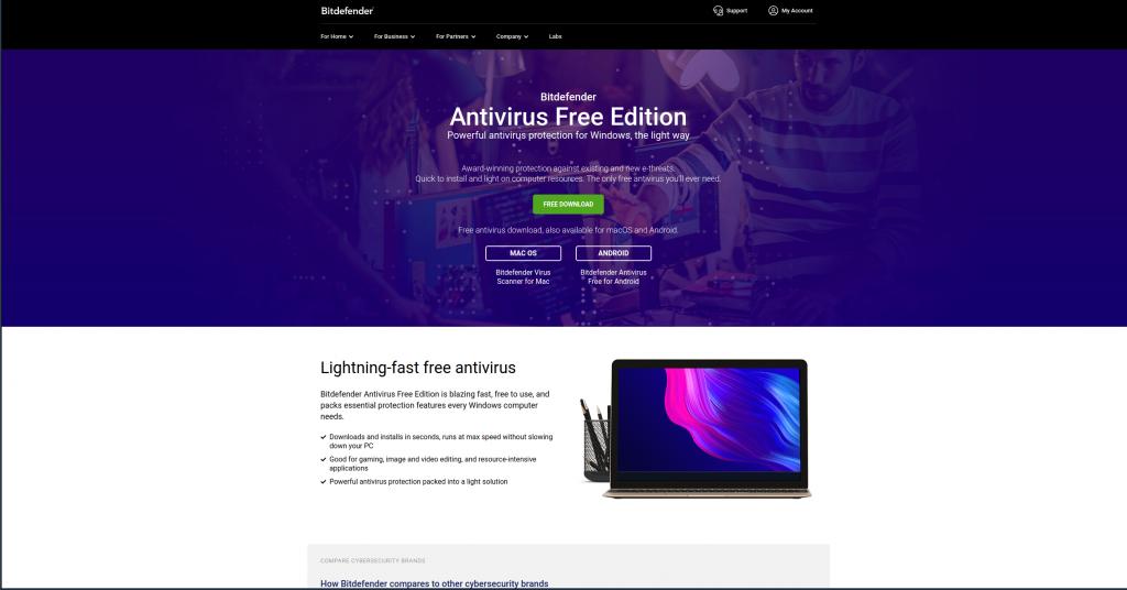 BitDefender free antivirus homepage
